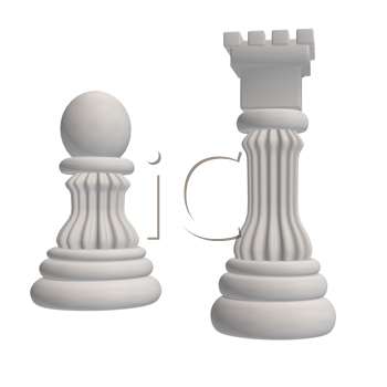 Two white chess pieces