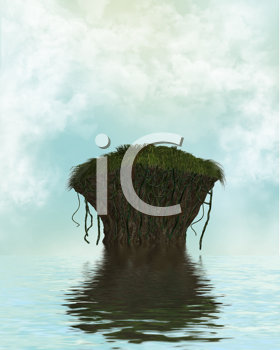 Royalty Free Clipart Image of a Cliff in the Water With Clouds