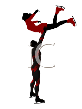 Couple ice skating illustration silhouette on a white background
