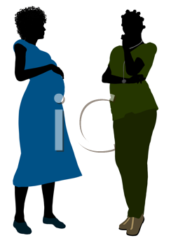 Royalty Free Clipart Image of a Female Doctor With an Expectant Mother