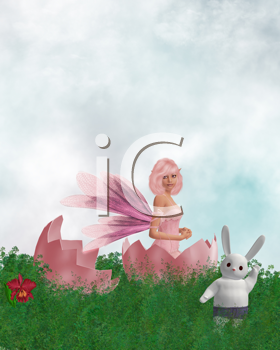 Royalty Free Clipart Image of a Fairy in a Cracked Egg With a Waving Rabbit