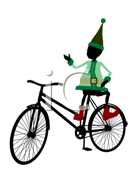 Royalty Free Clipart Image of an Elf With a Bike