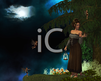 Royalty Free Clipart Image of a Woman Holding a Lantern and Fairies Around Her