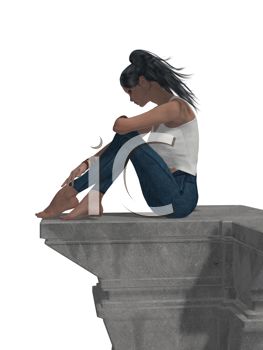 Royalty Free Clipart Image of a Girl on a Ledge