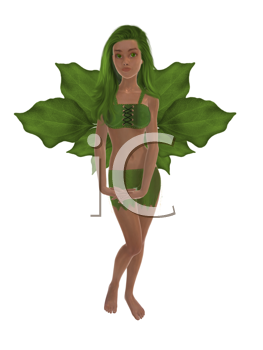 Royalty Free Clipart Image of a Green Fairy