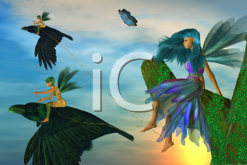 Royalty Free Clipart Image of Fairies and Ravens