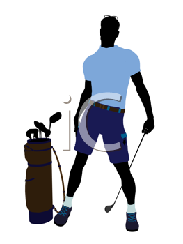 Royalty Free Clipart Image of a Male Golfer