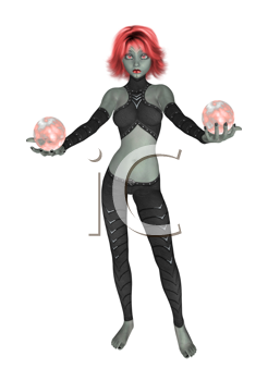 Royalty Free Clipart Image of a Goth Girl Holding Crystal Balls