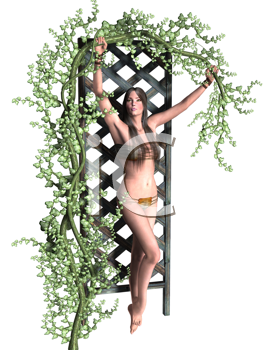 Royalty Free Clipart Image of a Woman Hanging on to a Vine at an Arbour