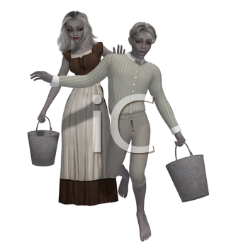 Royalty Free Clipart Image of a Boy and Girl With Pails