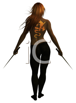 Royalty Free Clipart Image of a Woman Holding Swords