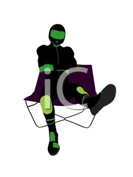 Royalty Free Clipart Image of a Motorcyclist in a Chair