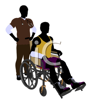 Royalty Free Clipart Image of a Nurse With a Patient in a Wheelchair