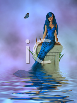 Royalty Free Clipart Image of a Mermaid on a Pedestal in the Water