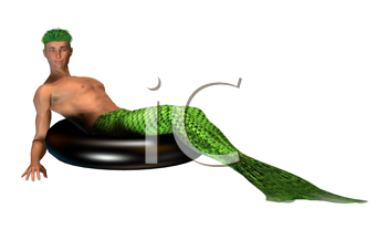 Lime green merman sitting on an inner tube