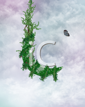 Royalty Free Clipart Image of a Vine and Butterfly