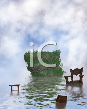 Royalty Free Clipart Image of Water With Floating Furniture