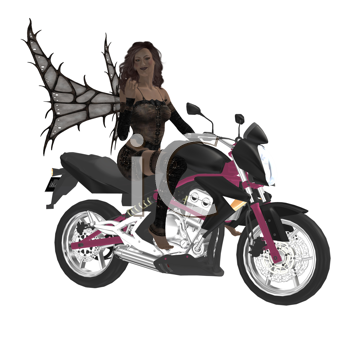 Royalty Free Clipart Image of a Fairy Riding a Motorcycle
