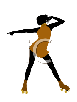 Royalty Free Clipart Image of a Female Roller Skater