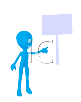 Royalty Free Clipart Image of a Blue Man With a Sign