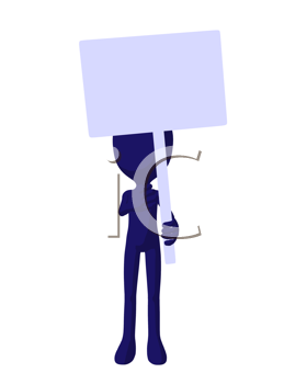 Cute blue silhouette guy holding a blank sign on a white background