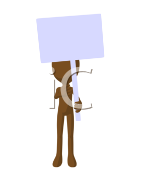 Royalty Free Clipart Image of a Brown Man With a Sign