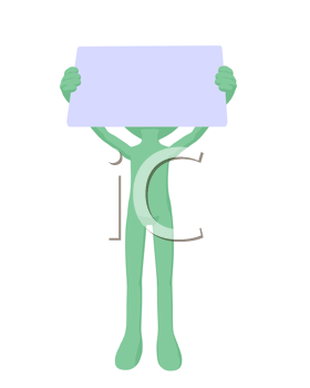 Royalty Free Clipart Image of a Green Man With a Sign