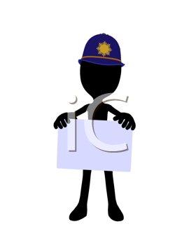 Royalty Free Clipart Image of a Cop Silhouette With a Sign