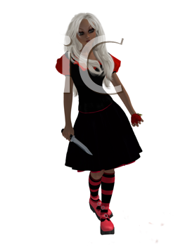 Royalty Free Clipart Image of a Girl With a Dagger and Apple