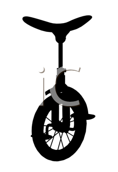 Royalty Free Clipart Image of a Unicycle Silhouette