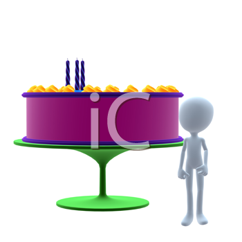 Royalty Free Clipart Image of a Man and a Birthday Cake