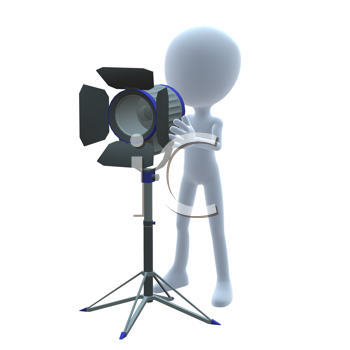 Royalty Free Clipart Image of a 3D Guy With a Light