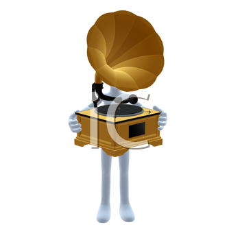 Royalty Free Clipart Image of a Man With a Gramophone