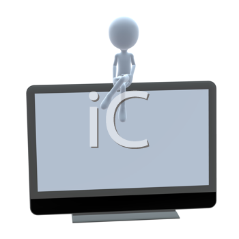 Royalty Free Clipart Image of a 3D Guy With a Flat Screen