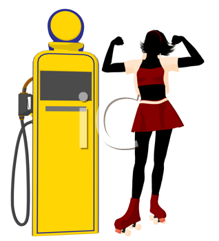 Royalty Free Clipart Image of a Girl in Roller Skates at a Gas Pump