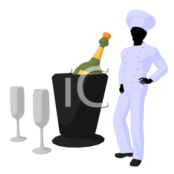 Royalty Free Clipart Image of a Chef With Champagne and Glasses