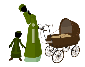 Royalty Free Clipart Image of a Victorian Mother With Her Children