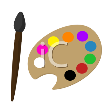 Art Palette with paint brush on a white background