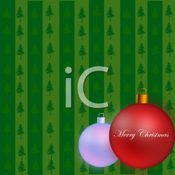 Merry christmas ornaments on a green background Illustration