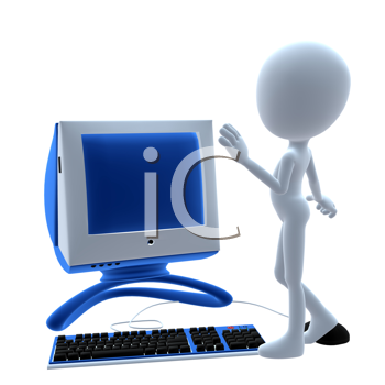 Royalty Free Clipart Image of a 3D Guy on a Computer