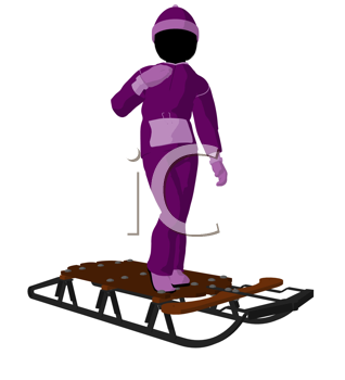 Royalty Free Clipart Image of a Girl and a Sled
