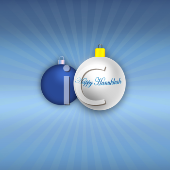 Royalty Free Clipart Image of Two Happy Hanukkah Ornaments on a Blue Background