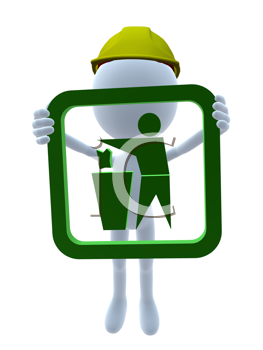 Royalty Free Clipart Image of a 3D Man in a Hardhat Holding a Waste Receptacle Sign