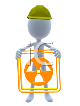 Royalty Free Clipart Image of a 3D Man in a Hardhat Holding a Hazard Sign
