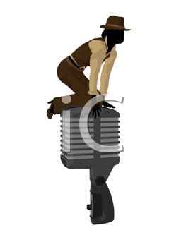 Royalty Free Clipart Image of a Female Jazz Singer With a Large Microphone