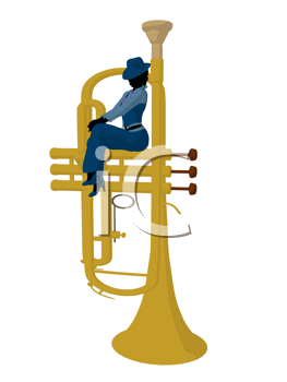 Royalty Free Clipart Image of a Woman on a Large Trumpet