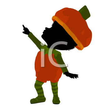 Royalty Free Clipart Image of a Child in a Pumpkin Costume