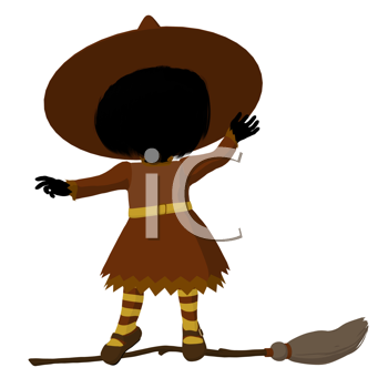 Royalty Free Clipart Image of a Witch on a Broom
