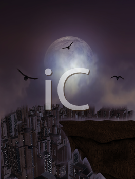 Royalty Free Clipart Image of a Full Moon and a Ledge Overlooking a City