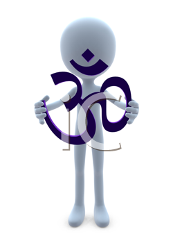 Royalty Free Clipart Image of a 3D Guy Holding an Ohm Symbol